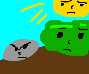 rock is angry bush and sun concerned