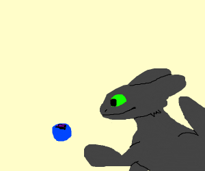 Grey Toothless eats a blueberry