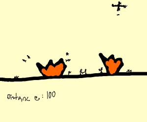 an intense battle but its really far away