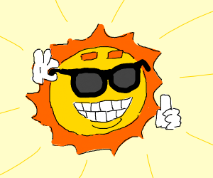 The sun morphed into a face w/... sunglasses