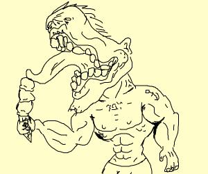 Buff monster eat ice cream