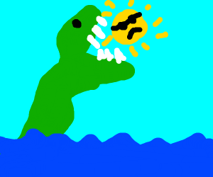 sea monster eating the sun