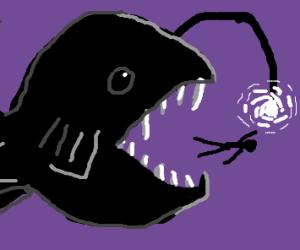 Angler fish eats person
