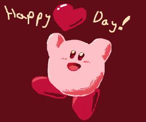 "kirby saying ""happy (heart) day!"""