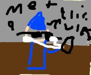 Cool wizard listening to metallica