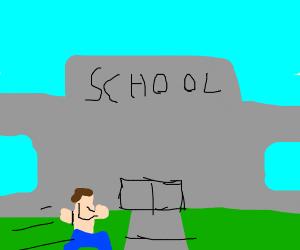 Shirtless man runs to school