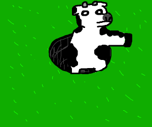 cow jumping in a hole