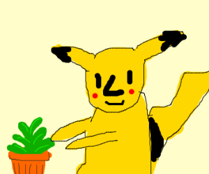 Pikachu with a big nose is gardening