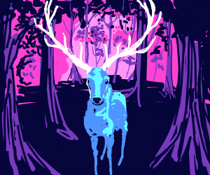 magestic blue deer in the woods