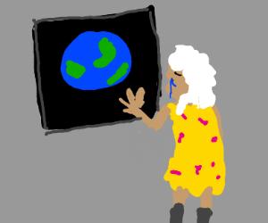 Grandma cries looking at the earth