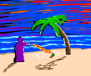 Wizard using spells on a coconut