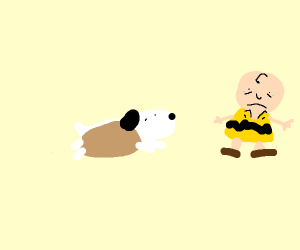 snoopy is now a hot dog, charlie brown is sad