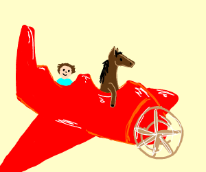 A little man and horse on an airplane