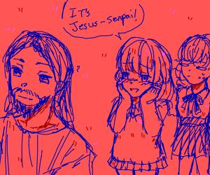 Anime girl has a crush on Jesus senpai