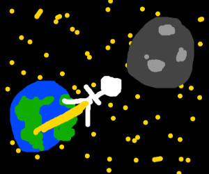 Man pisses himself to the moon