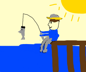 Fisherman caught a fish