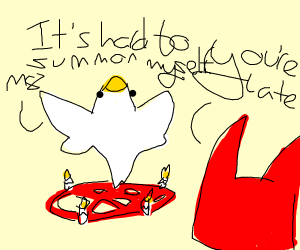 chicken summons himself and is late?