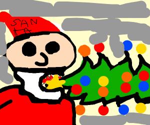 Santa eats a Christmas tree