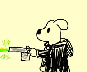 Dog wearing hoodie shooting laser