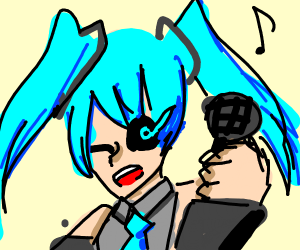 Blue haired pop idol with Sans's eye