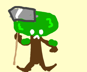 tree with arms and legs with an axe