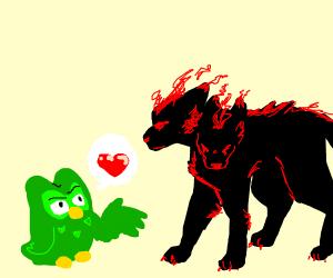 Duo flirts with a hellhound
