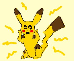 Pikachu looking amazed/shocks