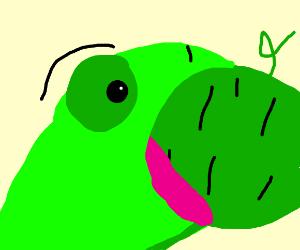 Charmeleon eating a melon