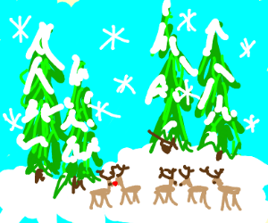 The reindeer are are in the winter forest