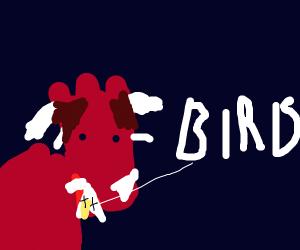 Styracosaur eats bird