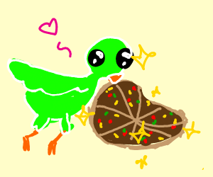 Cute green bird takes rare dapper pizza