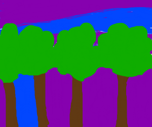 4 treese in a beatiful blue and purple sky