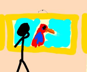 framed parrot wall art