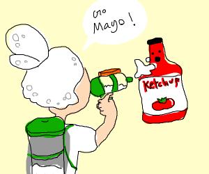 splatoon squid fights ketchup bottle