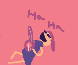 girl with a bun thinks her music is funny