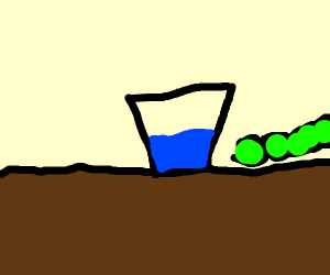 A caterpillar escapes from water cup