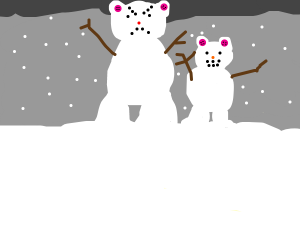 Angry snowman bear with smaller snowman bear