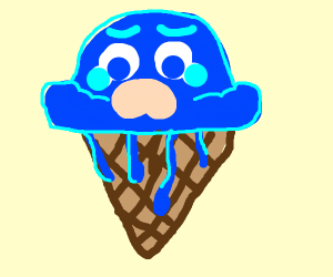 sad melting ice cream