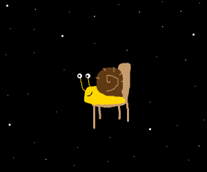 snail in space with a chair