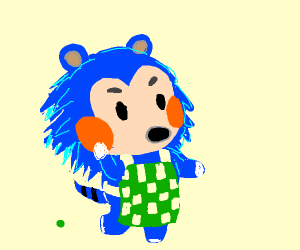 sonic-like villager from animal crossing