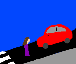 little girl gets hit by a red car
