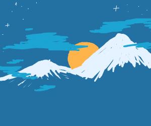 a Mountain and a beautiful night sky
