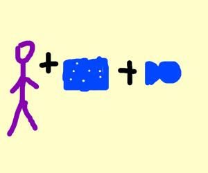 purple man + fish tank + blue fish