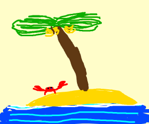 lonely crab on an island