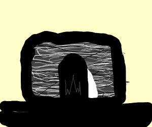 Girl from THE RING stuck in TV static