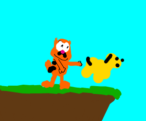 Garfield pushing Odie off a cliff