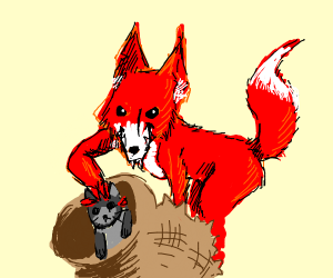 A fox catching Cats