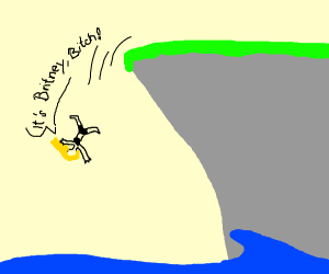 Britney Spears falling off a cliff