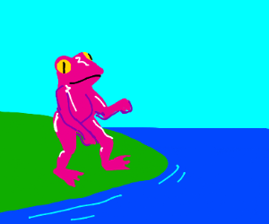 Pink Frog Headin Out Swimmin