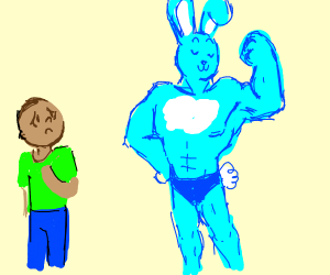 Man scared of swole bunny